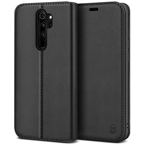 BEZ Handyhülle für Xiaomi Redmi Note 8 Pro Hülle, Premium Tasche Kompatibel für Xiaomi Redmi Note 8 Pro, Tasche Hülle Schutzhüllen aus Klappetui mit Kreditkartenhaltern, Magnetverschluss, Schwarz