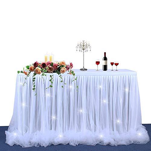 Dream Princess Style Tulle Gonna da tavolo Tovaglia con nastro filettato Fluffy Mesh per rettangoli o tavoli rotondi Birthday Wedding Baby Shower Party Decorazione da picnic (6ft, bianco+Light)