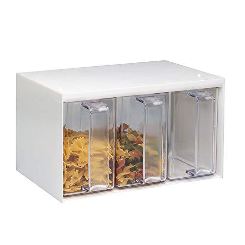 Westmark Schüttengehäuse, Mit drei Schütten, Fassungsvermögen: je 1 l, Kunststoff, Roma, Transparent/Weiß, 73052260