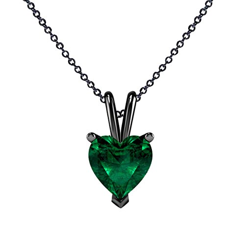 Regalo del día de San Valentín!!! Colgante con forma de corazón de esmeralda verde creado en laboratorio, collar de cadena de 45,7 cm para mujer, joyería en oro de 14 quilates con acabado en G negro de plata de ley 925