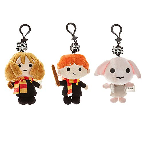 Plush Harry Potter Keychains Set – 3 Washable, Polyester Figures Including Hermione, Ron & Dobby – Harry Potter Gifts, Accessories, Collectibles, Party Favors, Merch by PMI, 4.5 in.