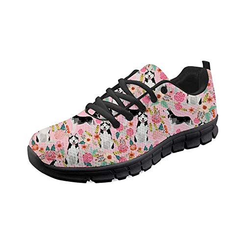 SEANATIVE Damen Sportschuhe Laufschuhe Leichte Mesh Athletic Sneaker Mode Walking Schuhe, - Schlittenhund - Größe: 38 EU