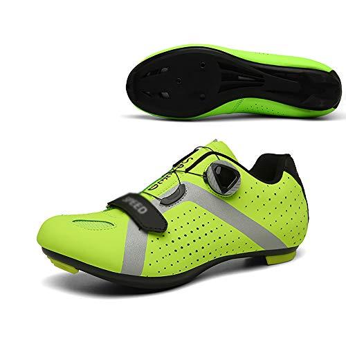 LU-Model Zapatillas de Ciclismo para Carretera Plus, con Suela de Carbono y Sistema rotativo de precisión. Yellow-45