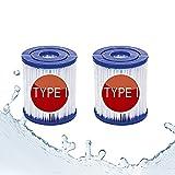 ERTLKP Cartucho de filtro de piscina Bestway tipo I, para bombas Bestway 58381 58511e,filtro para limpieza de piscinas, filtro para piscina hinchable,instalación fácil, para piscina (paquete de 2)