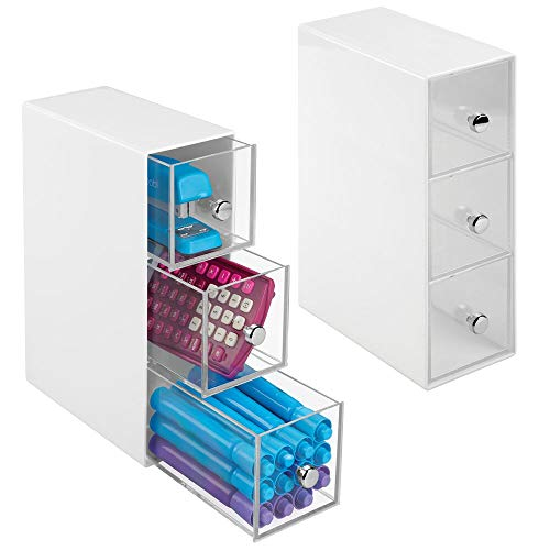 mDesign Home Office, Desk Organizer Storage Station for Storing Gel Pens, Erasers, Tape, Push Pins, Pencils, Markers - Space Saving - Use Vertically or Horizontally - 3 Drawers, 2 Pack - White/Clear