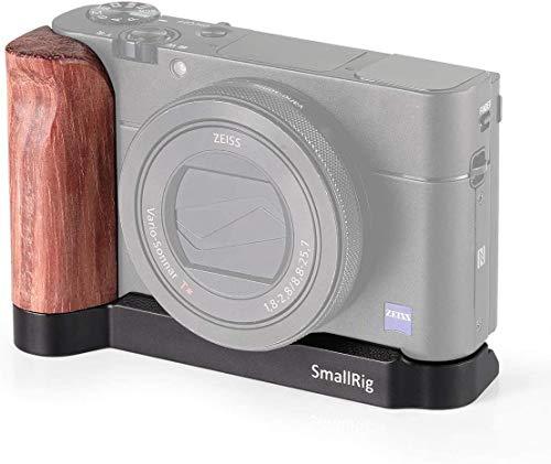 SMALLRIG L-förmige Kamerahalterung mit Holzgriff für Sony RX100 III IV V VA, Kamerahalterung-Platte mit 1/4 Zoll Fäden und Anti-Twist - 2248