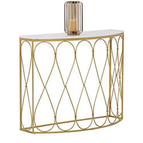 HAIZHEN Mesas de sofá de media luna, mesa auxiliar moderna de metal de madera dorada, estantería decorativa de almacenamiento para sala de estar, dormitorio, pasillo, mesas de aperitivos