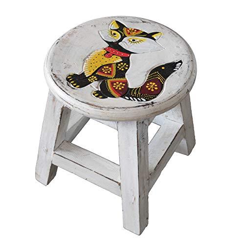 Simandra Holzhocker Kinderhocker Hocker Sitzhocker Fußbank Massivholz Schemel Stuhl mit Tiermotiv Deko weiß Farbe Katze