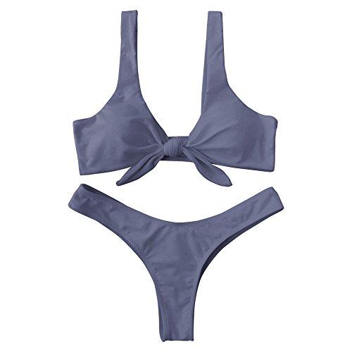 ZAFUL Damen Push-up Verknotet Bikini Set Grau S