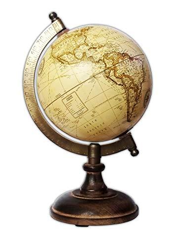 Dekorotives ANTIK GLOBUS-FINISCH Ø12,5cm Holz Vintage Retro Erdglobus Weltkugel Standglobus Zeitzone Globe Atlas Weltkarte 2-Varianten 19 (Creme)