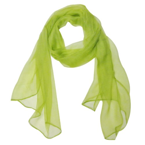 Wrapables Solid Color Silk Long Scarf, Apple Green