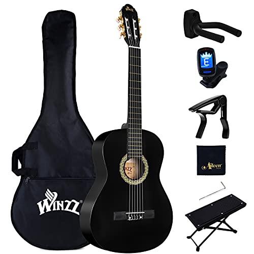 Winzz Guitare Classique Adulte Débutant avec 7 Accessoires – Pack Guitare 4/4 Cordes en Nylon - Noir Brillant 39 Pouces