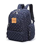 T-Bags Mommy And Baby Polka Dot Blue Backpack Diaper Bag With Changing Mat