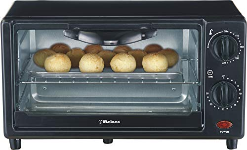 Belaco Mini 9L Toaster Oven Tabletop Cooking Baking Portable Oven 650w 100-250° Stainless Steel Heating Tube incl. Baking Tray & Wire Rack