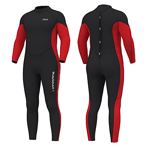 Hevto Wetsuits Men Guardian 3mm Neoprene Full Scuba Diving Suits Surfing Swimming Long Sleeve for Water Sports (G-Men Red, LT)