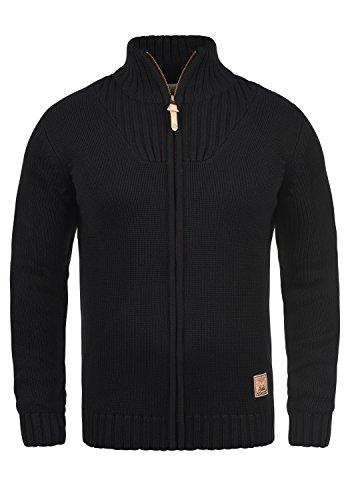 !Solid Poul Herren Strickjacke Cardigan Grobstrick Winter Pullover mit Stehkragen, Größe:XL, Farbe:Black (9000)