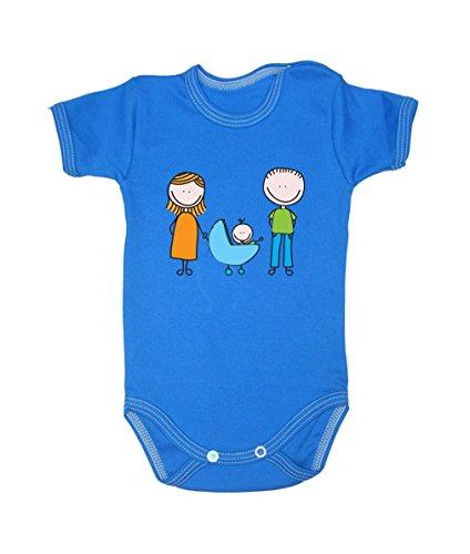 Couleur Mode Dessin Happy Family Unisexe bodies à manches courtes 100% coton Petit bébé – 24 mois – 0017 bleu tiny baby, 52 cm