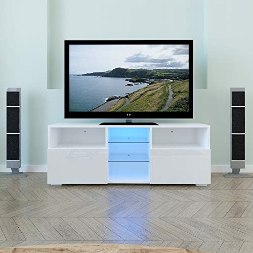 Armario de 120 cm con luces LED, moderno mueble de TV blanco con 3 capas, 2 puertas y estante abierto, soporte de TV centro de entretenimiento para sala de estar