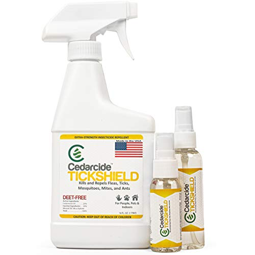 Cedarcide Extra Strength Tickshield Kit (Small) - Deep Woods Cedar Oil Tick & Mosquito Repellent Spray for People, Pets, & Indoors - Kills & Repels Fleas, Ticks, Ants, Mites and Mosquitoes