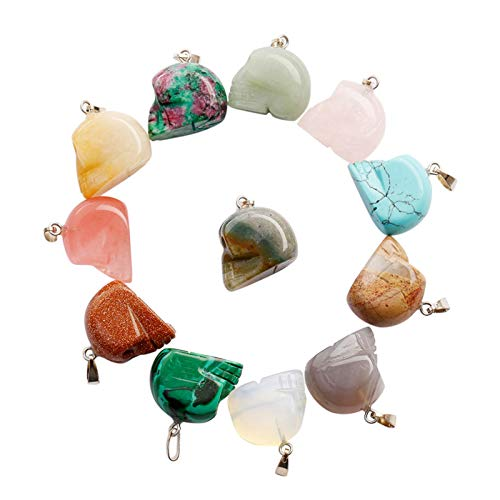 Animal Skull Head Charms Pendant Healing Crystal Quartz Chakra Beads for DIY Jewelry Making (5)