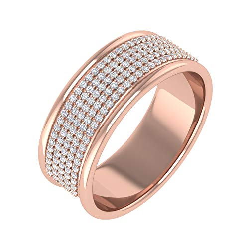 0.30 Carat Round Diamond Wedding Band Ring in 10K Rose Gold (Ring Size 9)