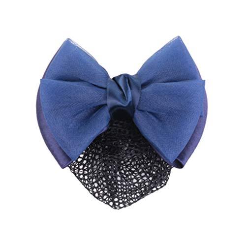 Minkissy Chignon Couvre Snood Net Barrette Pince à Cheveux Arc Cheveux Net Accessoires Élastique pour Femmes Dames Madame (Bleu Foncé)