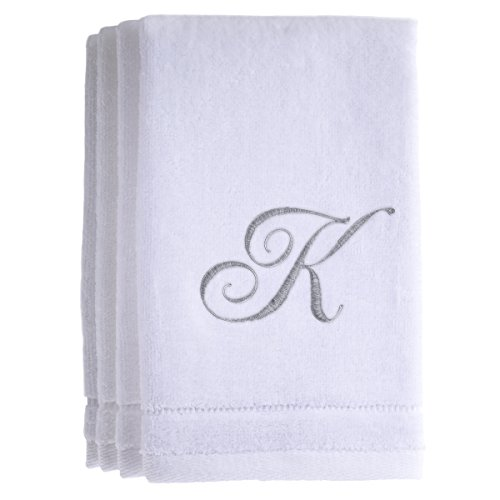 Monogrammed Towels Fingertip, Personalized Gift, 11 x 18 Inches - Set of 4- Silver Embroidered Towel - Extra Absorbent 100% Cotton- Soft Velour Finish - For Bathroom/ Kitchen/ Spa- Initial K (White)
