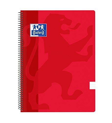 Oxford Classic - Pack de 5 cuadernos espirales, tapa plástico, 1 línea horizontal, color rojo
