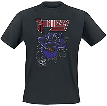 Thin Lizzy T Shirt Black Rose Band Logo Official Mens Black Size XL