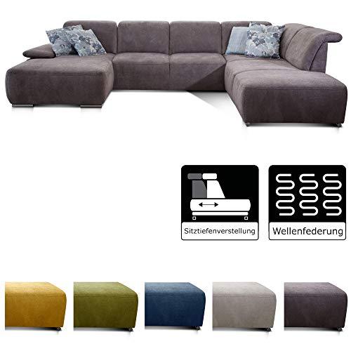 CAVADORE Wohnlandschaft Tabagos / U-Form mit Ottomane rechts / XXL Couch mit Sitztiefenverstellung / Verstellbare Rückenlehnen / 364x85x248 / Grau