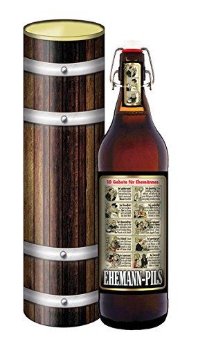 Bierpräsent in der Geschenkdose im Holzdesign - 10 Gebote für Ehemänner -