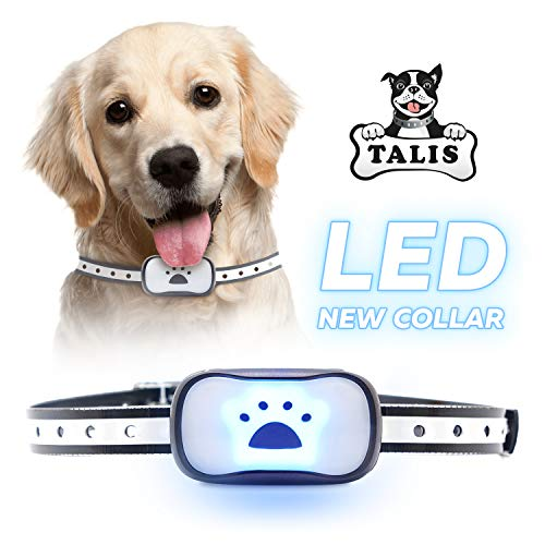 [Newest 2019] Dog Anti Bark Collar with Upgraded Smart Chip Stop Anti-Barking Modes - Sound/Vibration/Shock/LED Flashing Light - Rechargeable/Rainproof/Reflective for Small, Medium, Large Dogs