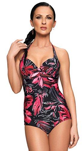 Selente My Secret attraktive Bademode (Bikini/Badeanzug) in großen Größen (C-Cup bis H-Cup) mit vorteilhaftem Schnitt, Badeanzug schwarz/Koralle, Gr. XXL