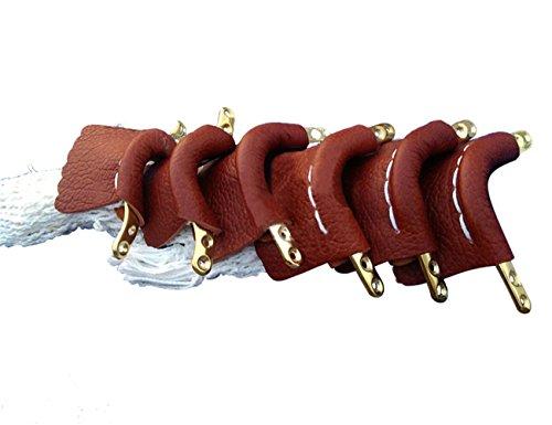 Scott Edward Pool Snooker Tisch Leder Taschen, Billard Leder Net Taschen, mit golden-plated Fransen Finish, Bügeleisen, Baumwolle Net Tasche, braun, 6 Stück
