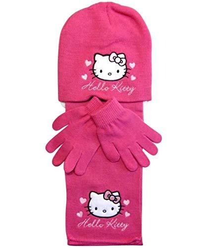 Hello Kitty Mütze Handschuhe und Schal (Fuchsia, 3-6 Jahre)