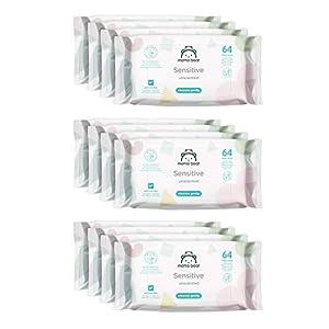 Marca Amazon - Mama Bear Sensitive Toallitas húmedas para bebé - 12 Paquetes (768 Toallitas)