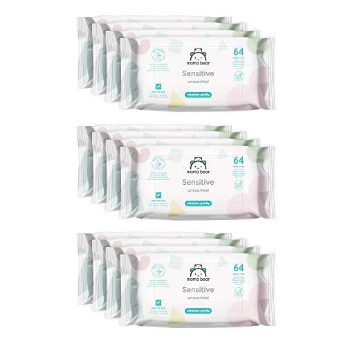 Marque Amazon - Mama Bear Sensitive Lingettes sans parfum pour bébé - Pack de 12 (768 lingettes)