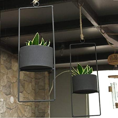 TRUPHE Metal Indoor/Outdoor Hanging Planters - Black, Set of 2
