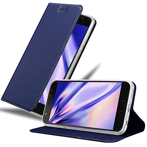 Cadorabo Hülle für Asus ZenFone 4 Selfie PRO in Classy DUNKEL BLAU - Handyhülle mit Magnetverschluss, Standfunktion & Kartenfach - Hülle Cover Schutzhülle Etui Tasche Book Klapp Style