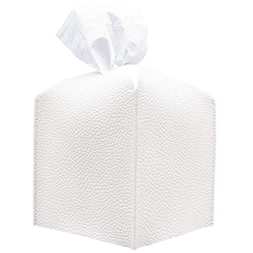 carrotez Tissue Box Cover, [Refined] Modern PU Leather Square Tissue Box Holder - Decorative Holder/Organizer for Bathroom Vanity Countertop, Night Stands, Office Desk & Car 5'X5'X5' - Off White
