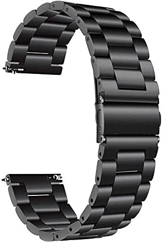 chenghuax Reloj Correa, 18 mm 22 mm 20 mm 24 mm de Reloj de Reloj de Acero Inoxidable Pulsera y Pulsera de Mujer Pulsera de Plata (Color : 20mm, Size : Black)