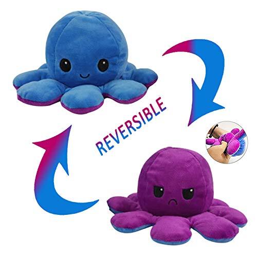 CJRNBU Oktupus Stimmungs Kuscheltier, Octopus Plüschtier Reversible, Doppelseitig Flip Plüsch Oktopus Spielzeug Geschenk für Kinder Erwachsene als Geburtstagsgeschenk