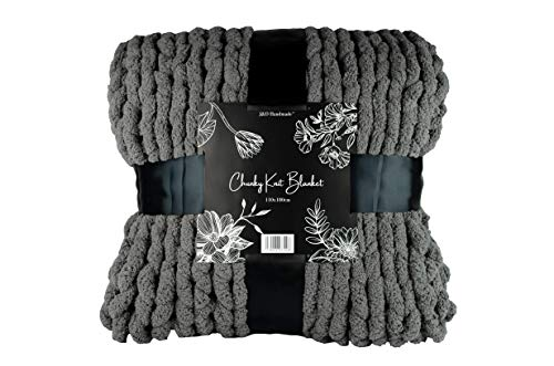 JundD Handmade™ - Chunky Knit Blanket - Super Soft Grobstrick Überwurf Decke für Bett, Sofa, Sessel (110x180cm) - schöne Heimdekoration, weiches veganes Chenille-Garn, Babydecke, Tagesdecke