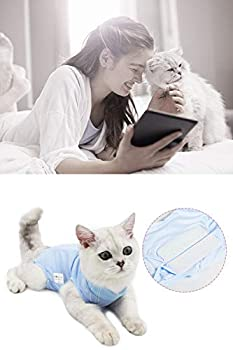 AEITPET Gilet de Récupération de Chat, Alternative pour Chiens et Chats Combinaison de récupération pour Animaux, Cat Restauration Convient Plaies Abdominales Maladies (S, Bleu)