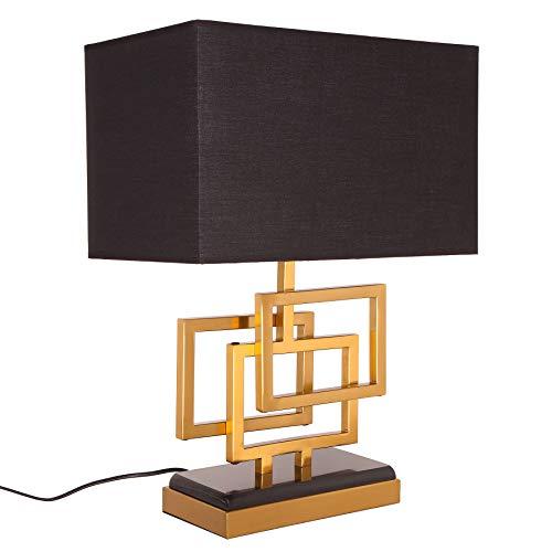 Moderne Tischleuchte LEONOR 56cm gold Modern Design Tischlampe mit Stoffschirm Tischlampe Lampe Nachttischleuchte