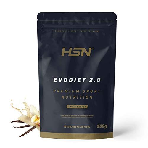 Evodiet de HSN | Batido de Proteínas para Adelgazar | con Té Verde + Carnitina + Efecto Termogénico + Quemagrasas + Mantener Masa Muscular | Vegetariano, Sin Gluten, Sabor Vainilla, 500g