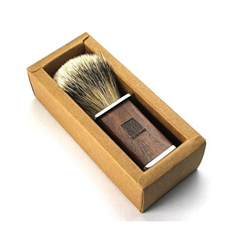Rasierpinsel aus Dachshaar mit Holzgriff und Geschenk-Schachtel aus Holz
