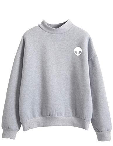 Pulli Teenager Mädchen, Damen Alien Drucken Langarm Pullover Casual Sweatshirt Langarmshirts Sweatjacke Oberteile Tops Shirts Hemd Bluse (Grau-weiß, XXL)