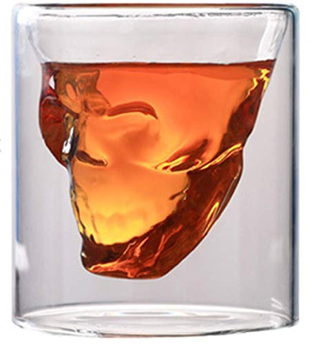 IGRNG Creativo café de Doble Pared cráneo Haciendo Cerveza Copa de Vino Transparente Whisky champán cócteles Regalo de Fiesta