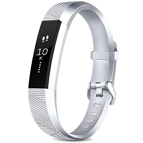 AK for Fitbit Alta/Alta HR Wrist Straps for Women and Men, Adjustable Replacement Sport Wristband for Fitbit Alta/Alta HR (Silver, Large)